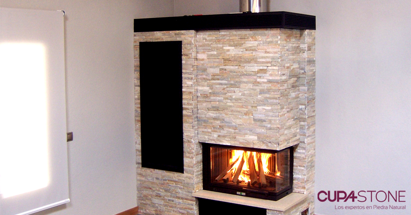 Paneles de piedra natural decopanel para una cocina - Chimenea blanca decorativa ...