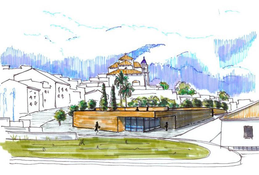 Boceto de Antonio Palma, arquitecto de la Estación de Autobuses de Alhaurín el Grande