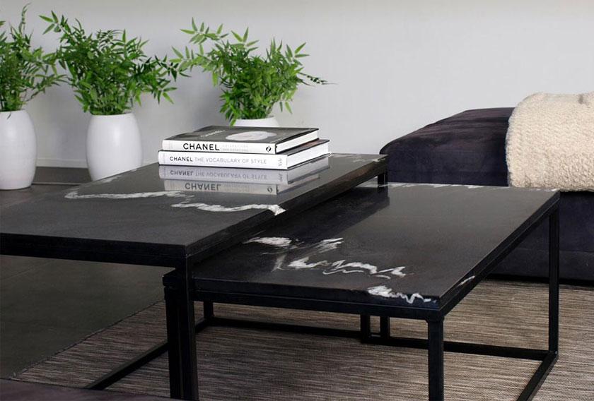 Mesa de salón creada con Dark Sienna