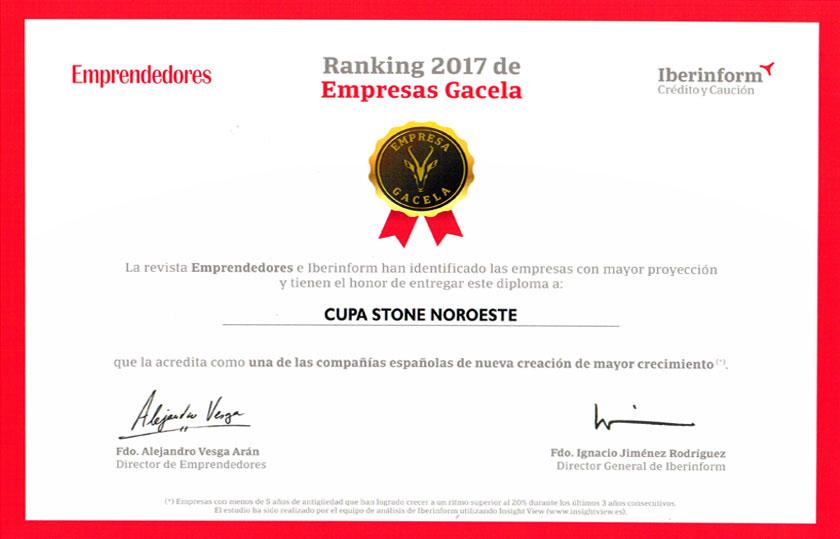 Diploma revista Emprendedores para CUPA STONE