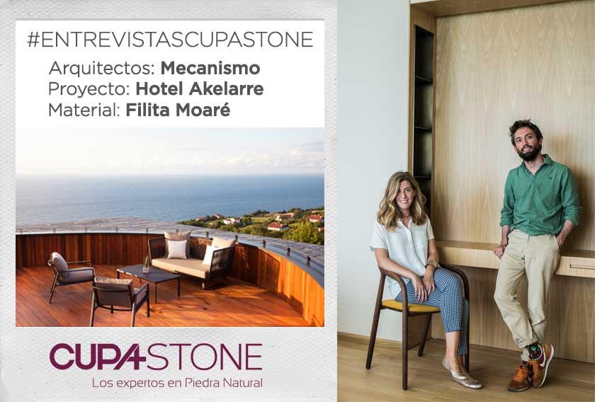 Entrevista con el estudio de arquitectura Mecanismo sobre el uso de la Filita Moaré CUPA STONE en el Hotel Akelarre