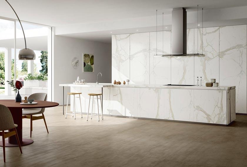 White Calacatta Mirrored de SapienStone